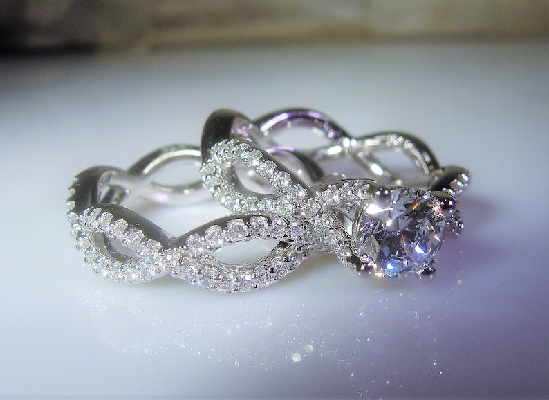 8345c0403d2 Sterling Silver Bridal Ring Set 1.87 Carats Engagement Ring