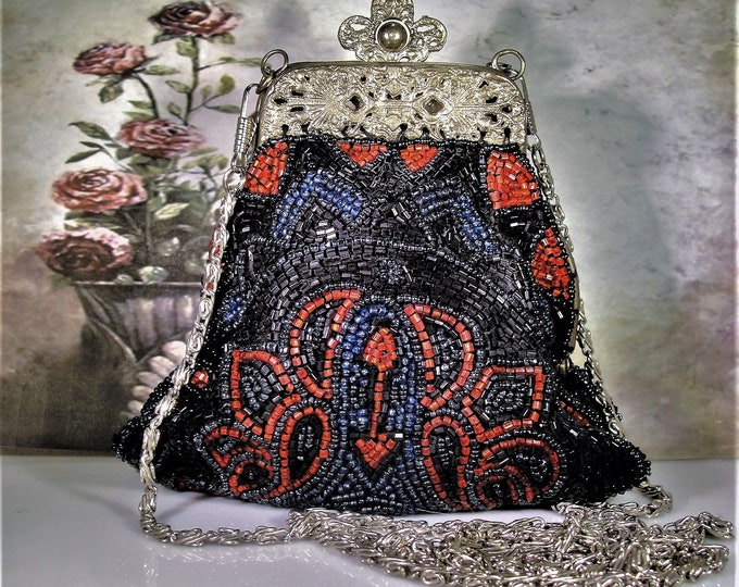 Beaded Purse, Victorian Revival Black Blue and Dark Red Beaded Evening Purse, Vintage Purse