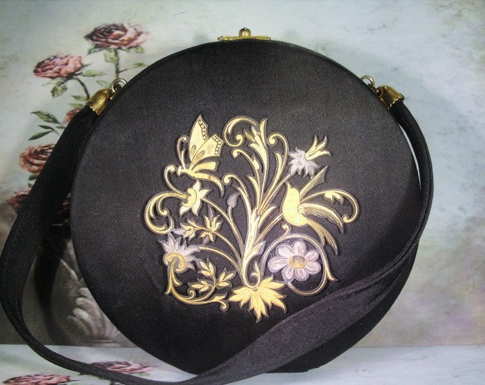 Purse Compact, Damascene Style Black Formal Necessaire Handbag with Compact, French Minaudiere