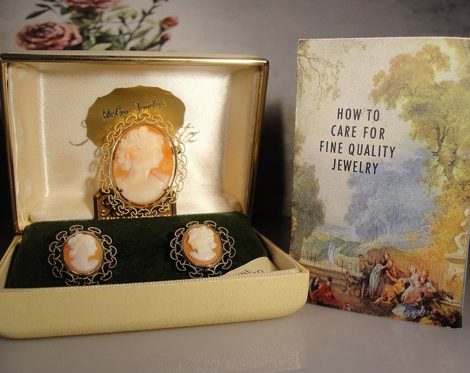 Brooch and Earrings Set, Vintage KREMENTZ Genuine Carved Shell Cameo Brooch and Earrings Jewelry Set, Vintage Jewelry Set