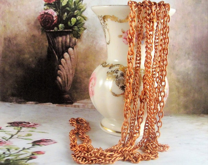 Multi-Strand Necklace, Aged Copper Coated Steel Multi Strand Necklace with 4 Graduated Chains, Vintage Chain Necklace