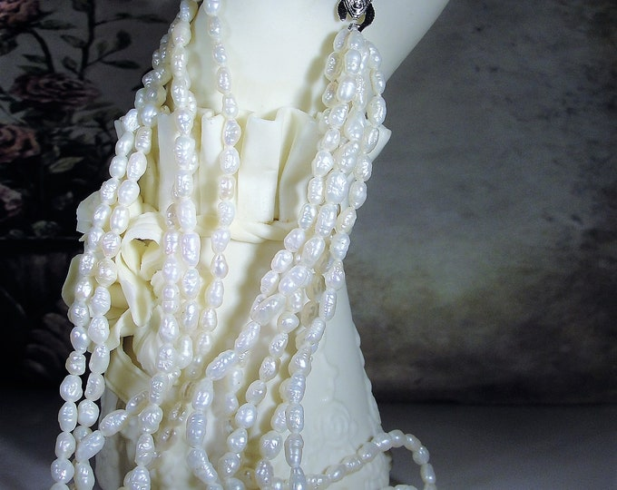 5 Strand Rice Pearl Necklace, Twisted Rice Pearl Necklace, Silver Clasp, 16 Inches, Rice Pearl Choker, Vintage Necklace