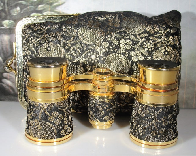 Opera Glasses, French Gold and Black Brocade Opera Glasses with Matching Case, Mini Binoculars, Vintage Opera Glasses