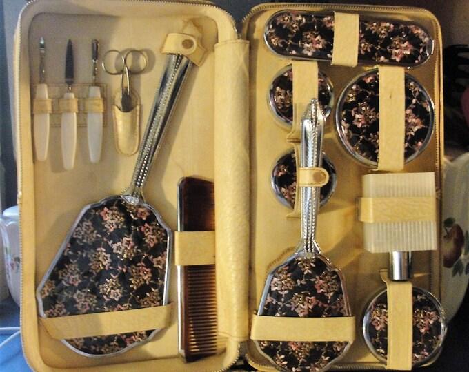 Vanity Set, 13 Piece Vanity Set w/ Traveler's Case, Black & Pink Floral Motif, Silver Metal, Off White Leatherette Case, Vintage Vanity Set