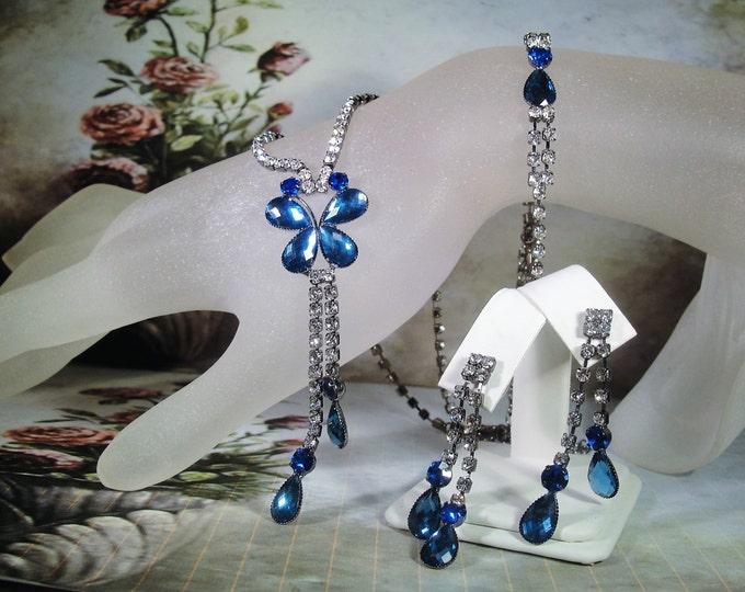 Jewelry Set, Blue Butterfly Jewelry Set, Necklace Bracelet and Earrings, Gunmetal Rhinestone Set, Vintage Jewelry Set