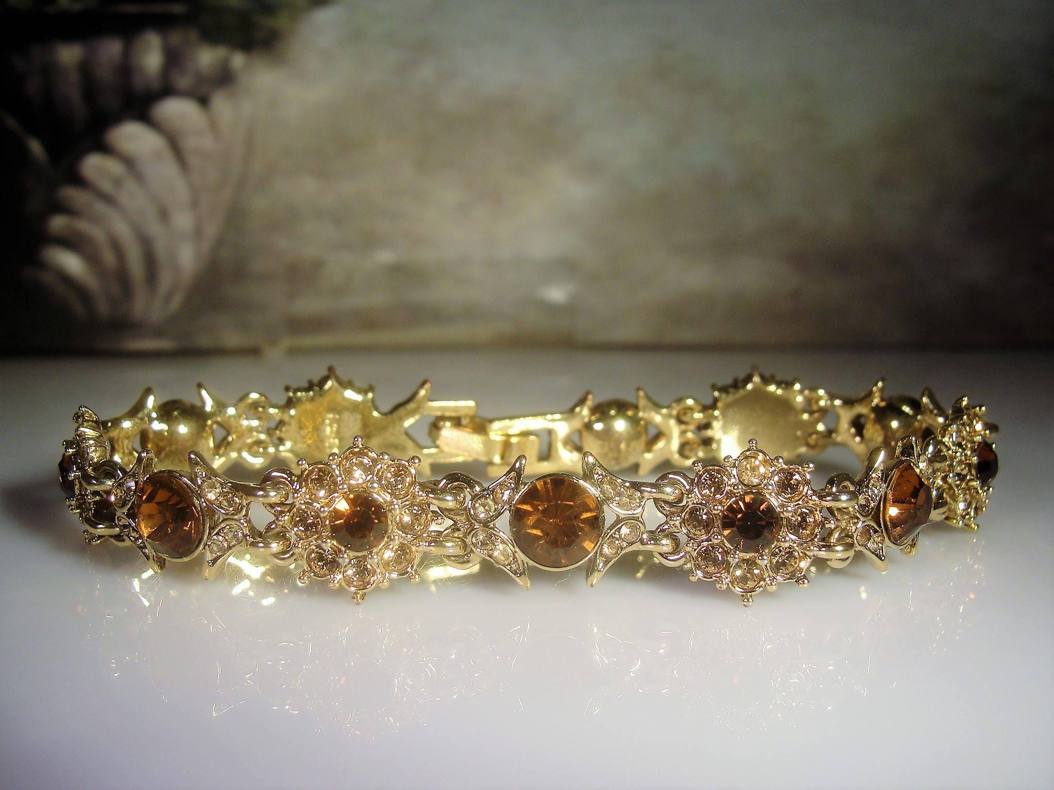 Monet Bracelet Amber Topaz Rhinestone Bracelet Citrine
