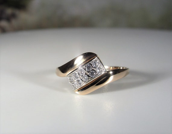 14K CZ Ring, 14K Rose Gold Cubic Zirconia Bypass R