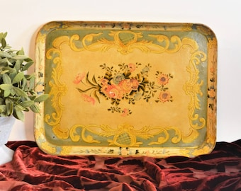 Vintage 16x12 Papier Mache Floral Tray // Occupied Japan // Hand Painted Paper Mache Tole