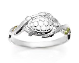 Sea Turtle Ring #051 - Turtle Ring, Sea Turtle Jewelry, Animal Ring, Ocean Ring, Sea Creature Ring, Green Peridot, Silver or Gold