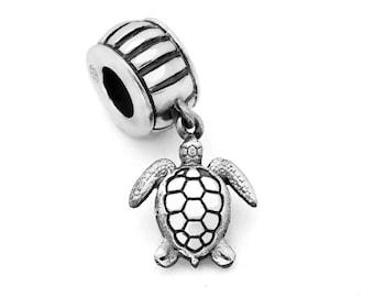 Silver Sea Turtle Charm #029 - Fits Pandora Charm Bracelets, Ocean Jewelry, Beach Charms, Animal Charm, Sterling Silver