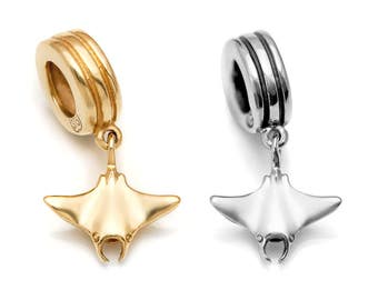 Manta Ray Charm #038-Fits Pandora Charm Bracelets, Manta Ray Pendant, Manta Ray Necklace, Ocean Charm, Animal Charm, Sterling Silver or Gold