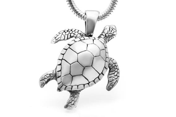 Sterling Silver or Gold Sea Turtle Jewelry Sapphire Jewelry Sea Turtle Necklace Turtle Pendant Sea Turtle Sapphire Necklace #080