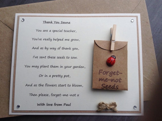 Thank You Poem Gift Magnet Pre-school Nursery Teacher Assistant Forget-me-not