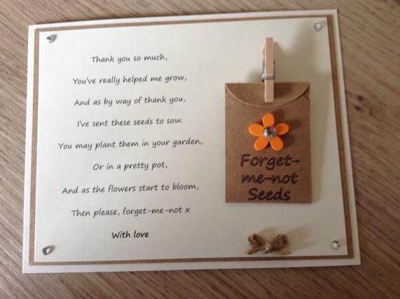 Danke Gedicht Geschenk Magnet Mit Vergissmeinnicht Samen Kindergarten Lehrer Assistent Tagesmutter