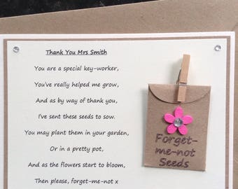 Key-worker Personalised Thank You poem gift magnet with forget-me-not seeds. Choice of flower colour