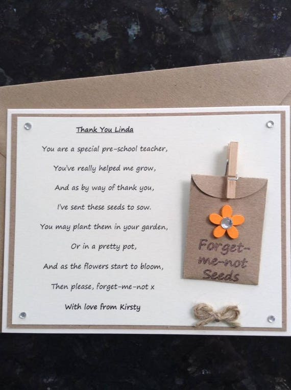 Forget-me-not Seeds Personalised Thank You Dance Teacher Poem Gift Magnet