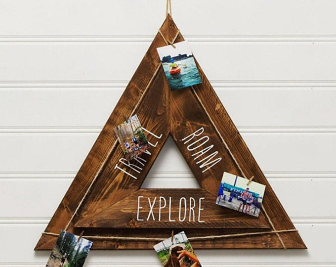 Triangle Rustic Wood Sign