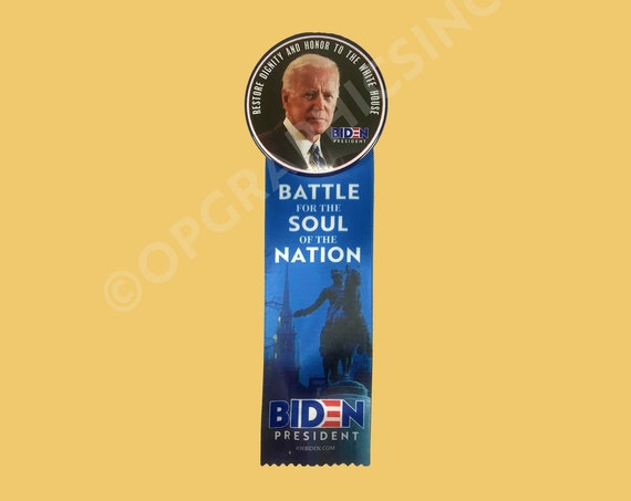2020 Joe Biden Collectible Campaign Button and Satin Ribbon, 3 Inch Button with 6 Inch Satin Ribbon, Biden, Presidential Election Button