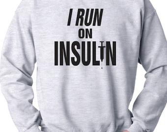 e389d1c63b8 I Run On Insulin 50/50 Crewneck Sweatshirt, Diabetes Awareness, Support  Diabetes, Diabetes Fundraiser