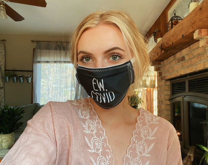 Featured listing image: Ew Covid Black, Funny Face Mask Top Wire for snug fit, Washable, Avail in 3 sizes FREE SHIPPING