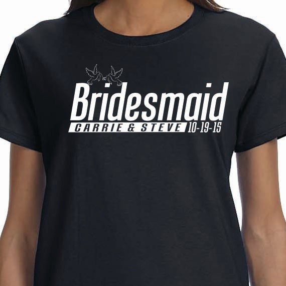 Bridesmaid Personalized Bridal Gift Wedding Ladies 100% Cotton Gift T-Shirt