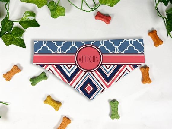 Triangle Print Dog Bandana, Personalized Slide On Dog Bandana, Personalized Neckwear, Hand Made, Customized, Dog Scarf