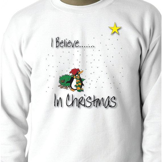I Believe In Christmas, Christmas Sweatshirt, Christmas Gift, Christmas Present, Printed 50/50 Crewneck Sweatshirt