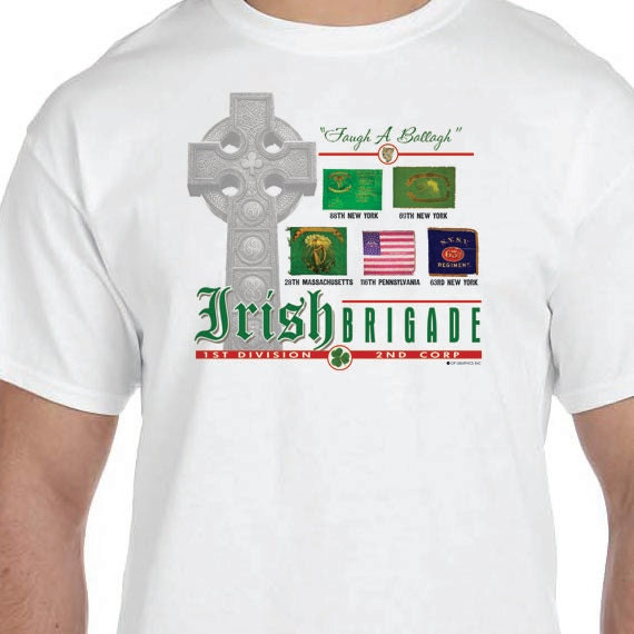 Irish Brigade Battle Flags 1st Division Second Corp T-shirt 150th Civil War Sesquicentennial 100% Cotton Gift T-Shirt
