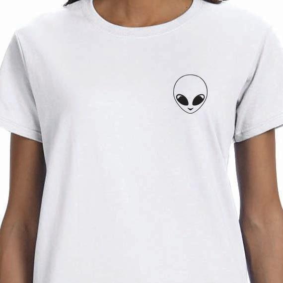 Alien T-shirt, Funny Shirt Printed 100% Cotton Gift T-Shirt