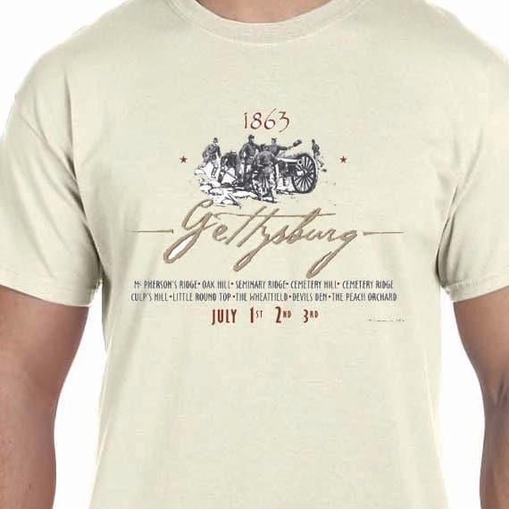 1863 Gettysburg Woodcut Civil War Printed 100% Cotton Gift T-Shirt