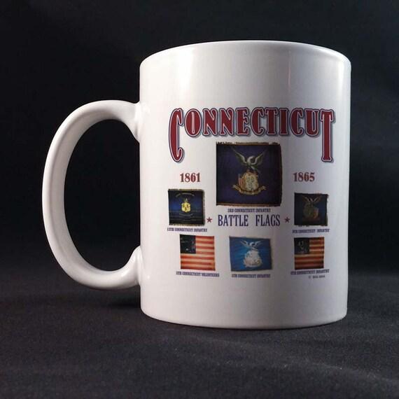Connecticut Battle Flags 150th Civil War Sesquicentennial Gift Mug 11 or 15 oz White Ceramic Mug