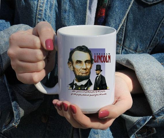 Abraham Lincoln Gettysburg Address Mug, White Ceramic Mug, 11 Oz Mug, 15 Oz Mug