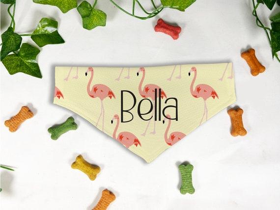 Flamingo Print Dog Bandana, Personalized Slide On Dog Bandana, Personalized Neckwear, Hand Made, Customized, Dog Scarf