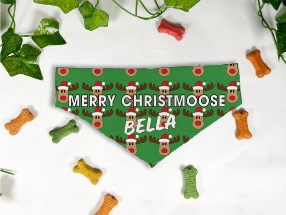 Merry Christmoose Print Dog Bandana, Personalized Slide On Dog Bandana, Personalized Neckwear, Hand Made, Customized, Dog Scarf