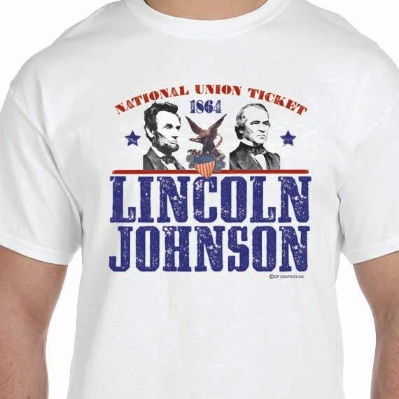 Lincoln Johnson Election 1864 Civil War Printed 100% Cotton Gift T-Shirt