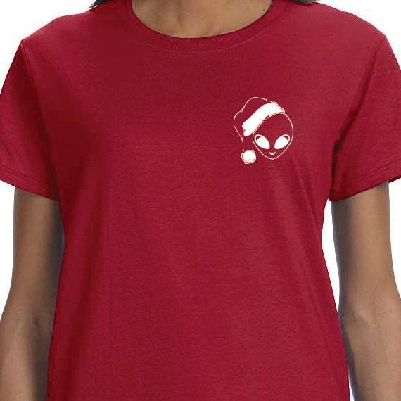 Christmas Alien T-shirt, Christmas T-Shirt, Santa Claus Hat Shirt, 100% Cotton T-shirt