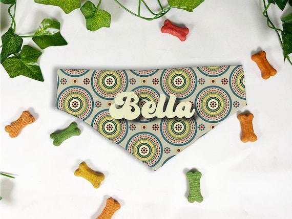 Circles Retro Printed Dog Bandana, Personalized Slide On Dog Bandana, Personalized Neckwear, Hand Made, Customized, Dog Scarf