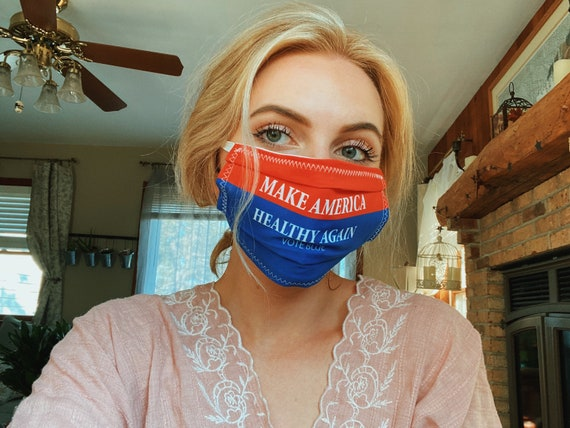 Make America Healthy Again, Vote Blue, Face Mask Top Wire for snug fit, Washable, Avail in 3 sizes FREE SHIPPING A DNC donation for ea sold