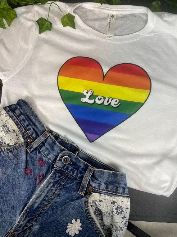 Love, Pride, Cropped Tee, Pride T-shirt, LBGTQ T-Shirt, Gay Pride Gift, T-Shirt Printed 100% Polyester Gift T-Shirt