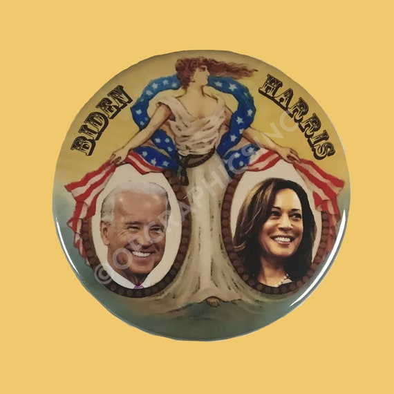 2020 Biden Harris, Patriotic, Lady Liberty, 3 Inch Campaign Button, Biden, Presidential Election Button, Donation to Campaign for each sale