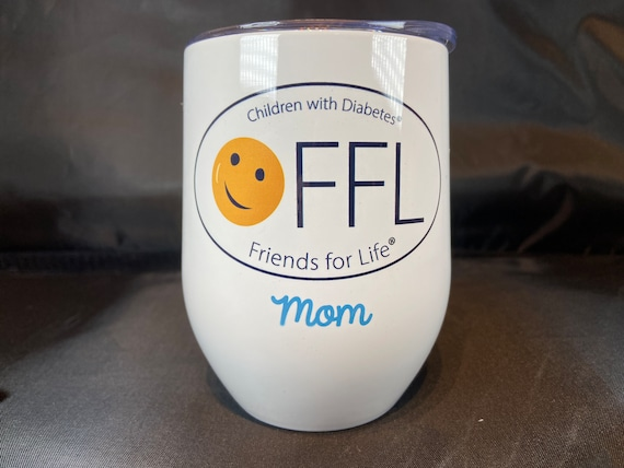 CWD Fundraiser Stemless Wine Tumbler 12oz with personalization. Add your name or Fiffles name for a great gift! 6 Designs Available.