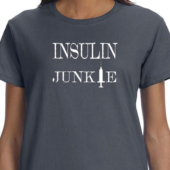 Insulin Junkie 100% Cotton Printed T-Shirt, Diabetes Awareness, Diabetes Fundraiser, Children With Diabetes, Diabetes Support