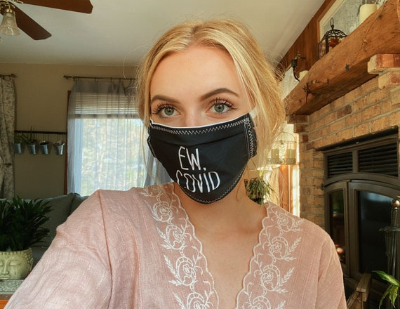 Ew Covid Black, Funny Face Mask Top Wire for snug fit, Washable, Avail in 3 sizes FREE SHIPPING