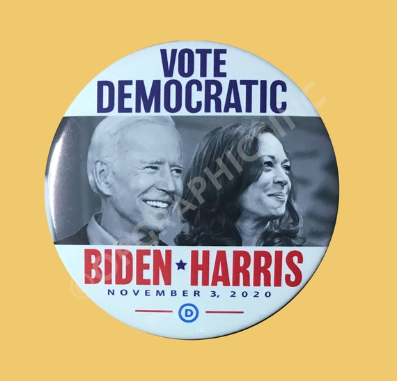 2020 Vote Democratic Biden Harris 3 Inch Campaign Button, Biden, Presidential Election Button, Donation to Campaign for each sale