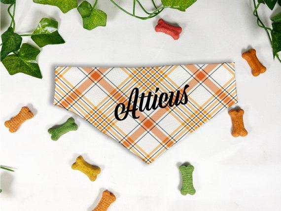 Fall Plaid Print Dog Bandana, Personalized Slide On Dog Bandana, Personalized Neckwear, Hand Made, Customized, Dog Scarf