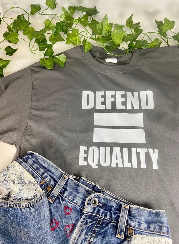 Defend Equality, LGBTQ T-Shirt, Love, Pride, Cropped Tee, Pride T-shirt, Gay Pride Gift, T-Shirt Printed 100% Cotton Gift T-Shirt