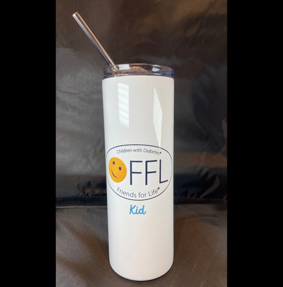 """CWD Fundraiser  Stainless Steel Tumbler 20 oz , with clear lid and metal straw. 8"""" x 2 7/8"""" dia. with personalization. 6 Designs Available."""