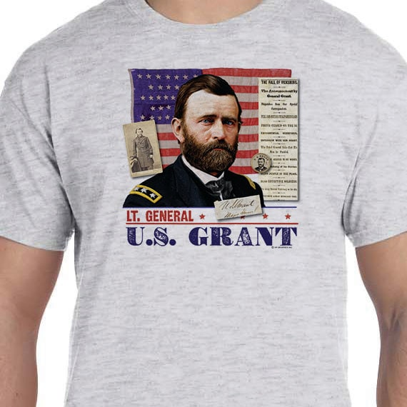 Union General US Grant Collage T-shirt 150th Civil War Sesquicentennial 100% Cotton Gift T-Shirt