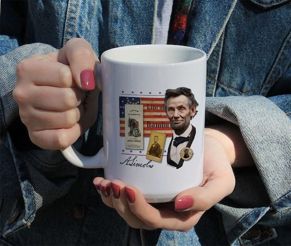 Abraham Lincoln Collage Mug, White Ceramic Mug, 11 Oz Mug, 15 Oz Mug