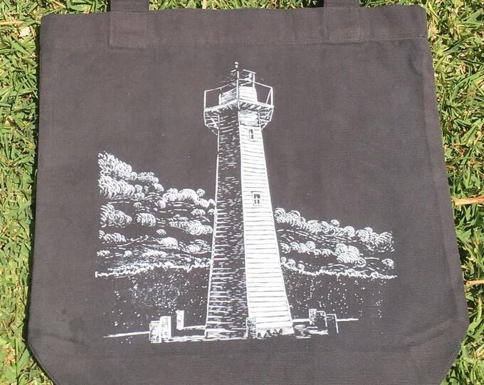 Blue Lighthouse Linocut design Tote Bag